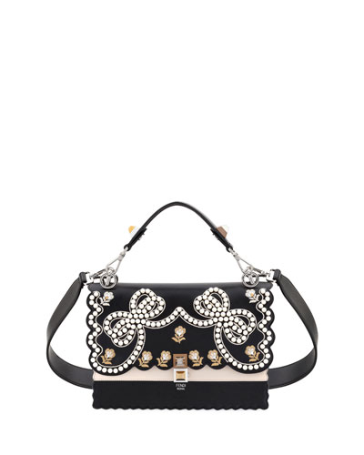 Fendi Kan I Bow Leather Scalloped Shoulder Bag