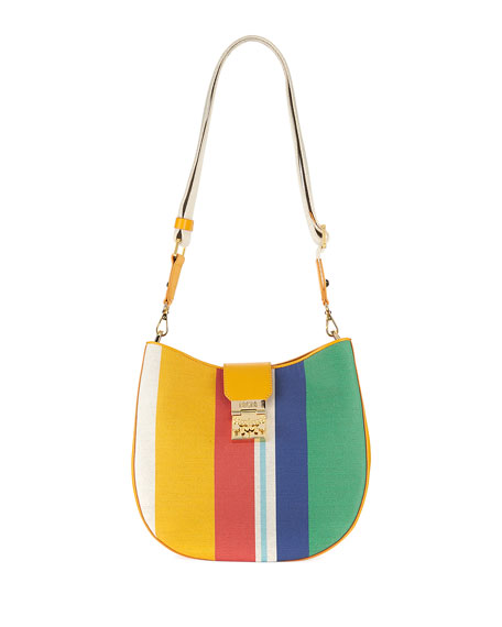 MCM Patricia Rainbow Canvas Hobo Bag
