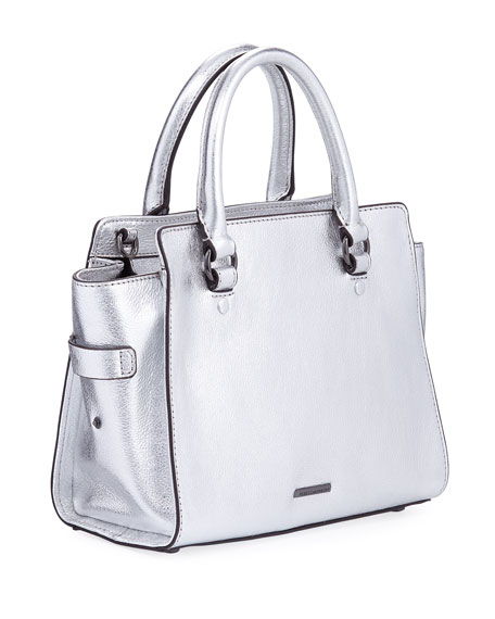 Jamie Small Metallic Satchel Bag, Silver