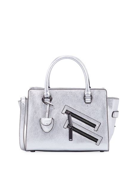 Rebecca Minkoff Jamie Small Metallic Satchel Bag, Silver