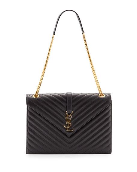 Saint Laurent V-Flap Large Envelope Chain Shoulder Bag