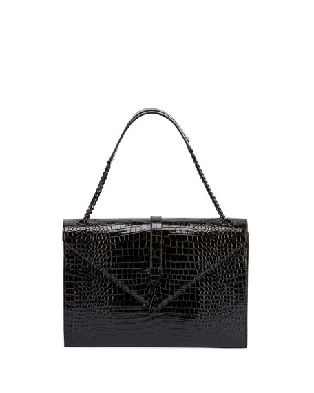 Saint Laurent V Flap Medium Shiny Croc-Embossed Envelope