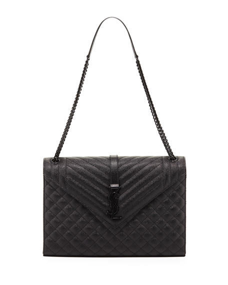 Large Tri-Quilted V-Flap Shoulder Bag