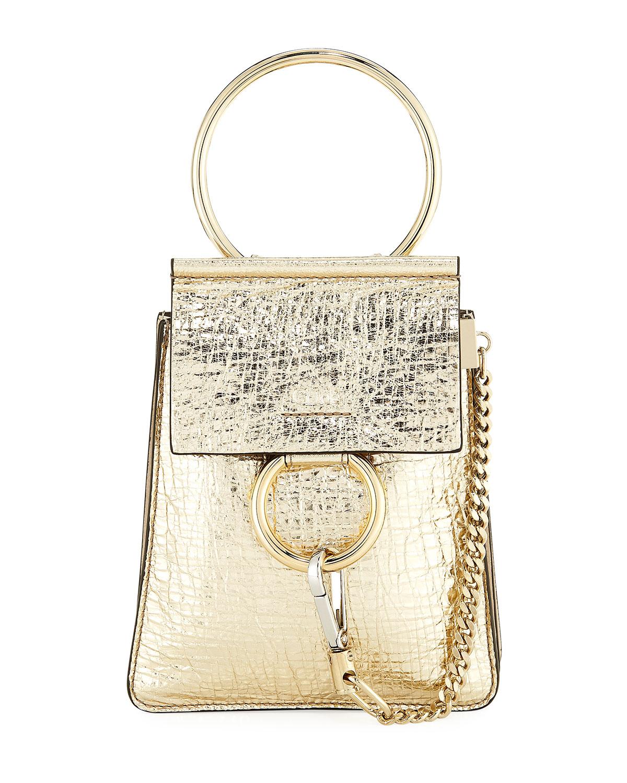 4e9efe101 Chloe Faye Small Metallic Leather Bracelet Bag | Neiman Marcus