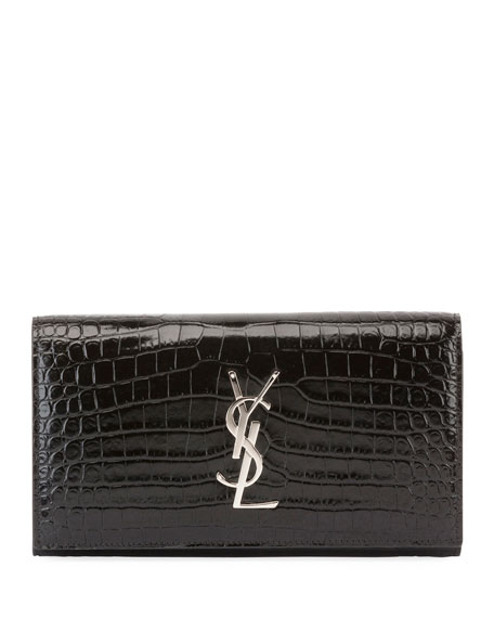 Saint Laurent Monogram Large Croco Flap Wallet
