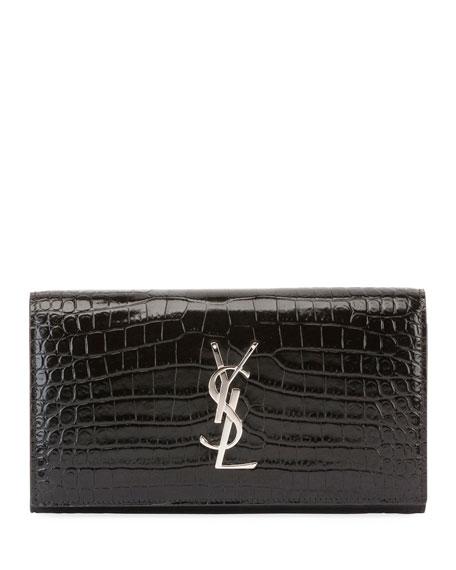 Monogram YSL Large Croco Flap Wallet