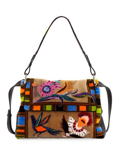 Multi-Print Leather Shoulder Bag
