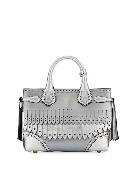 Burberry Banner Small Broguing Fringe Metallic Tote Bag