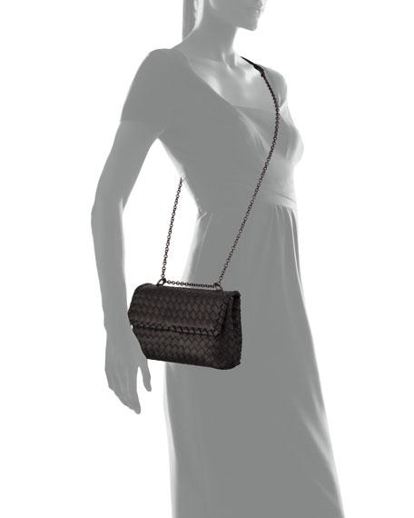 Bottega Veneta Baby Olimpia Intrecciato Shoulder Bag, Black