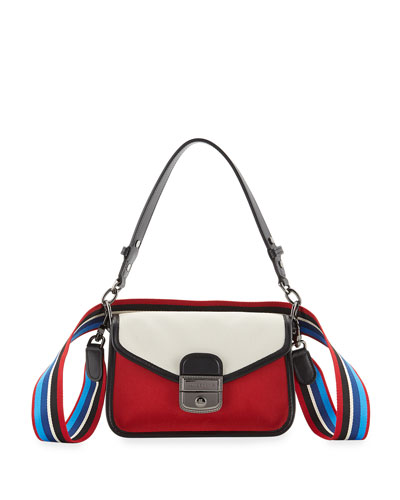 Mademoiselle Colorblock Canvas Toile Crossbody Bag, Red