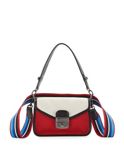 26be494dc29 Price History Set Sale Alert · Longchamp Mademoiselle Colorblock Canvas  Toile Crossbody Bag, Red