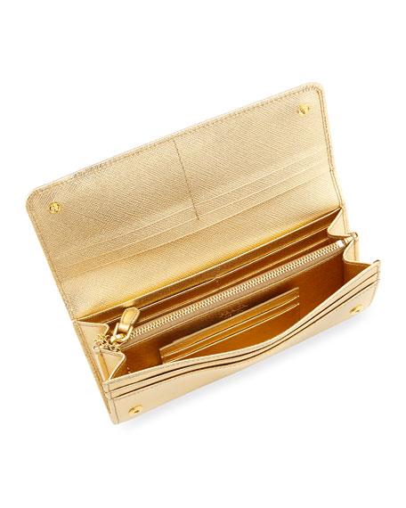 Saffiano Metal Oro Continental Wallet