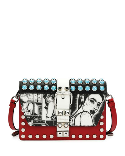 Printed Prada Crossbody Bag