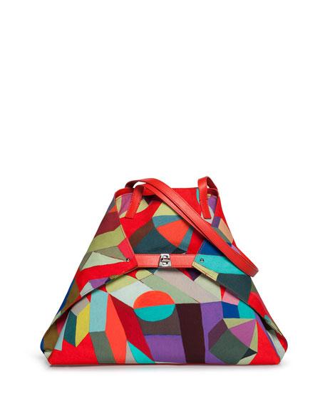 Akris Ai Medium Printed Nylon Soft Shoulder Bag