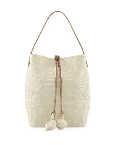 Medium Two-Tone Crocodile Bucket Bag w/ Rings