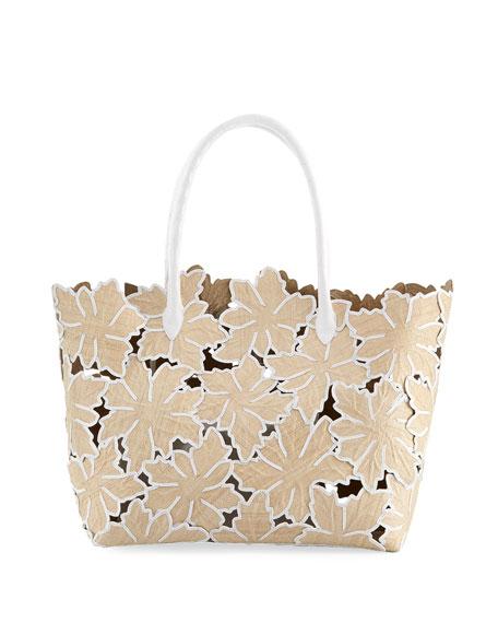 Medium Floral Straw Tote Bag