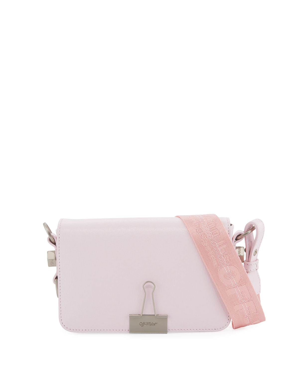 96a1153e Off-White Mini Leather Flap Bag with Binder Clip, Pink | Neiman Marcus