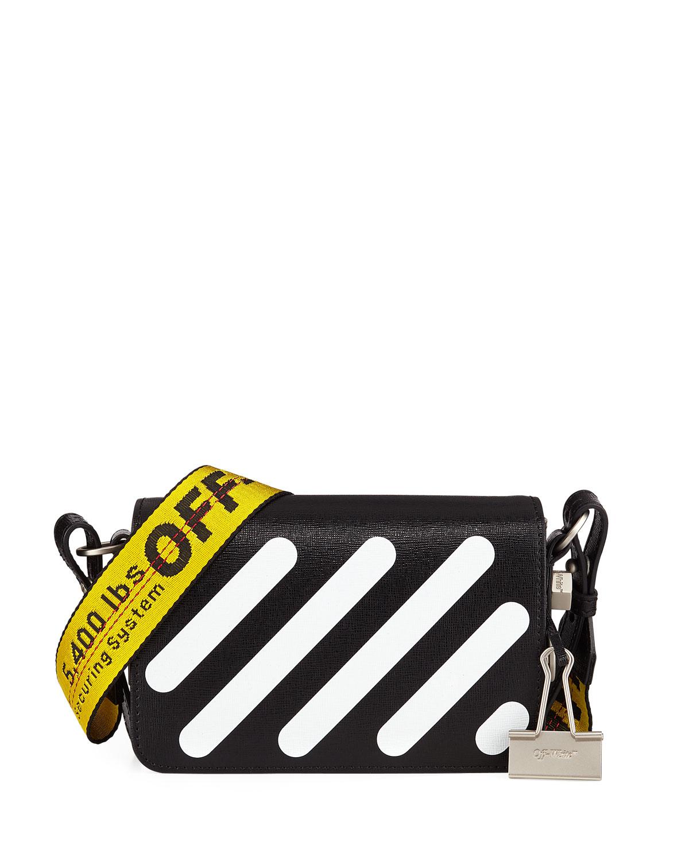 9694d17e Off-White Diagonal Stripe Mini Flap Clutch Bag with Binder Clip ...