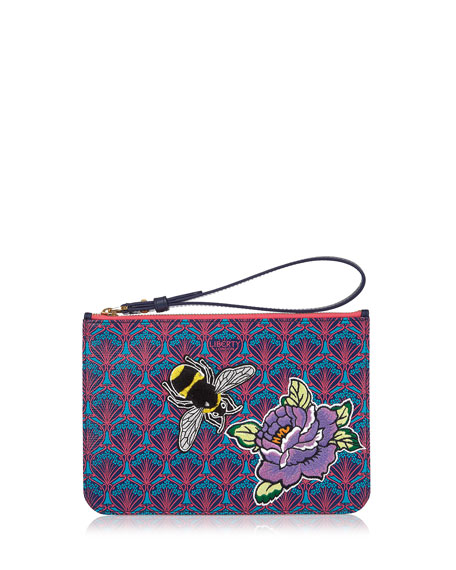 Multi Bee Patch Wristlet Bag