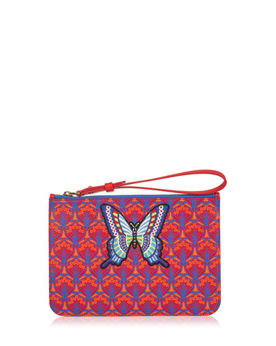Multi Butterfly Patch Wristlet Bag