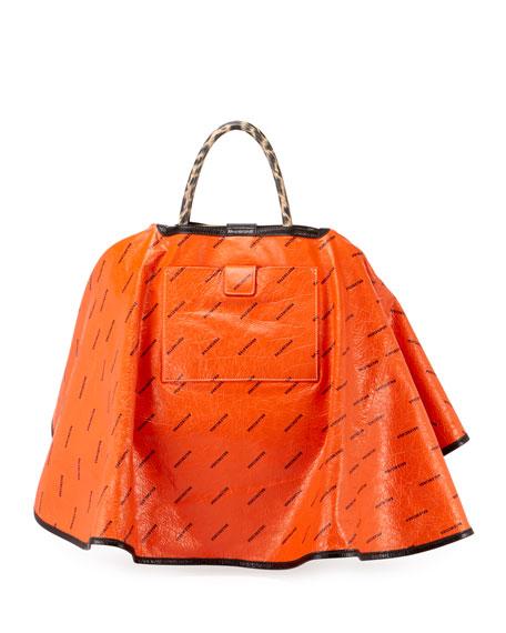Ville Loopard-Print Leather Satchel Bag w/Cape
