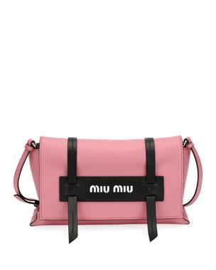 4f3c7e560d33c2 Miu Miu Calf Leather Logo Flap Crossbody Bag