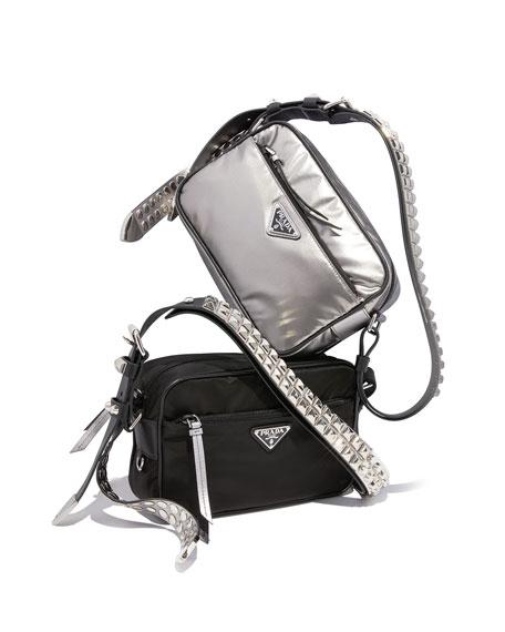 Prada Black Nylon Shoulder Bag with Studding