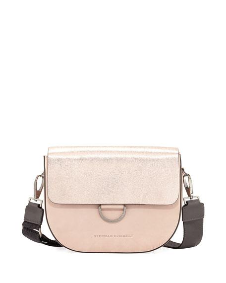 Metallic Leather/Nubuck Crossbody Bag