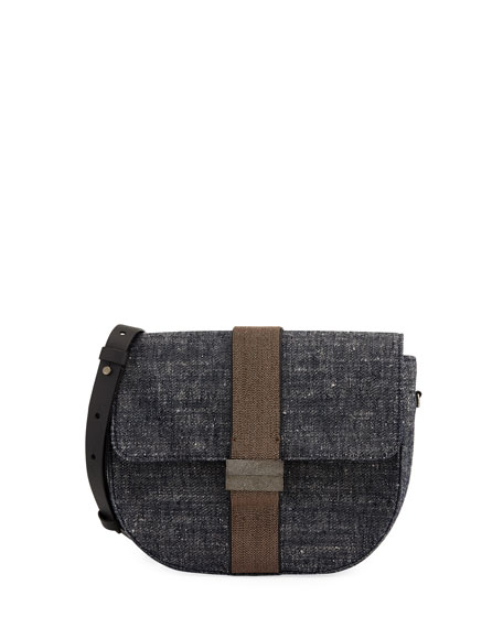 Denim and Monili Crossbody Bag