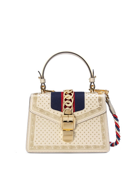 Gucci Sylvie Small Stars Leather Top-Handle Bag