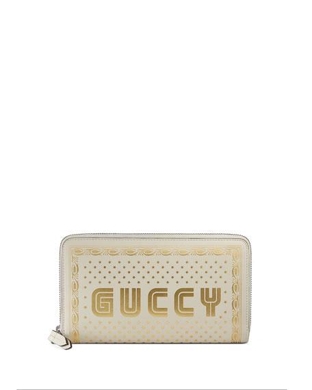 Gucci Guccy Script Zip-Around Wallet