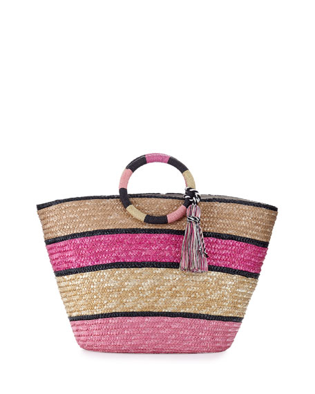 Rebecca Minkoff Striped Woven Straw Tote Bag