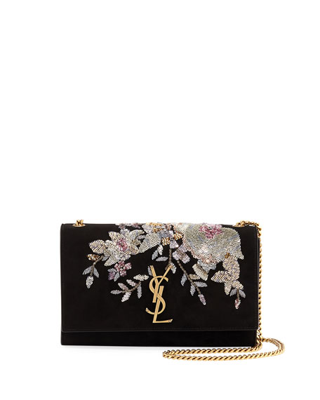 Kate Monogram YSL Medium Embroidered Suede Chain Shoulder Bag