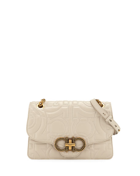 Salvatore Ferragamo Peony Gancio Quilting Shoulder Bag