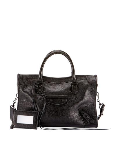 Small Metallic Edge Leather City Bag