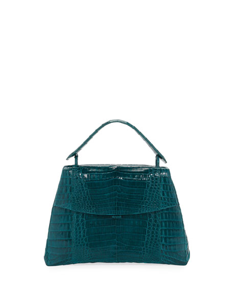 Curved-Bottom Medium Crocodile Top-Handle Bag