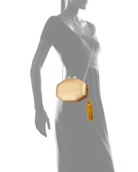 Rafe Sofia Straw Clutch Bag, Gold
