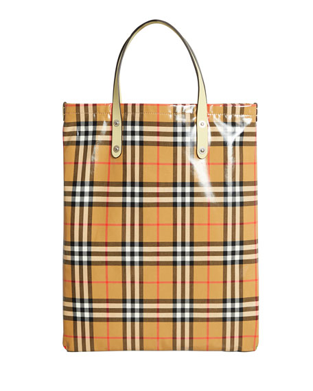 c7ed05a0772 Burberry Coated Vintage Check Medium Shopper Tote Bag | Neiman Marcus