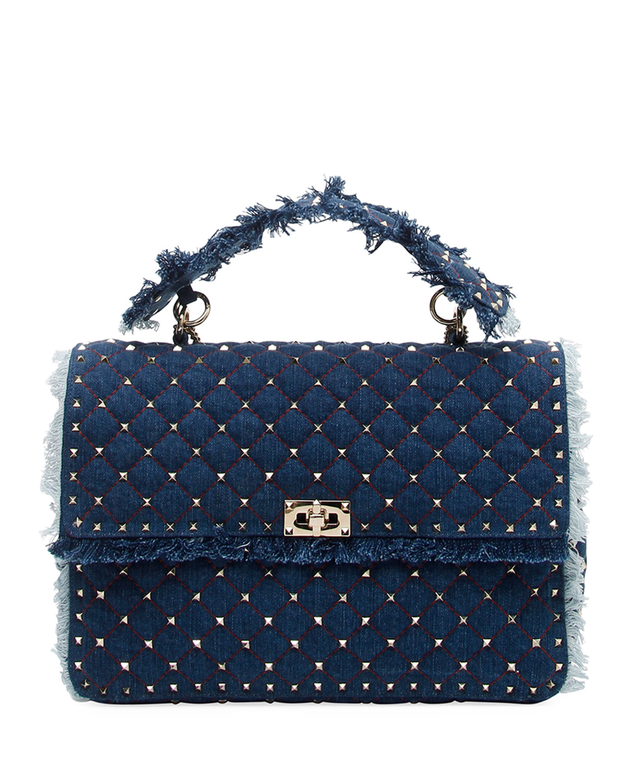 f5c92a492ed Valentino Garavani Rockstud Spike Maxi Fringe Denim Shoulder Bag ...