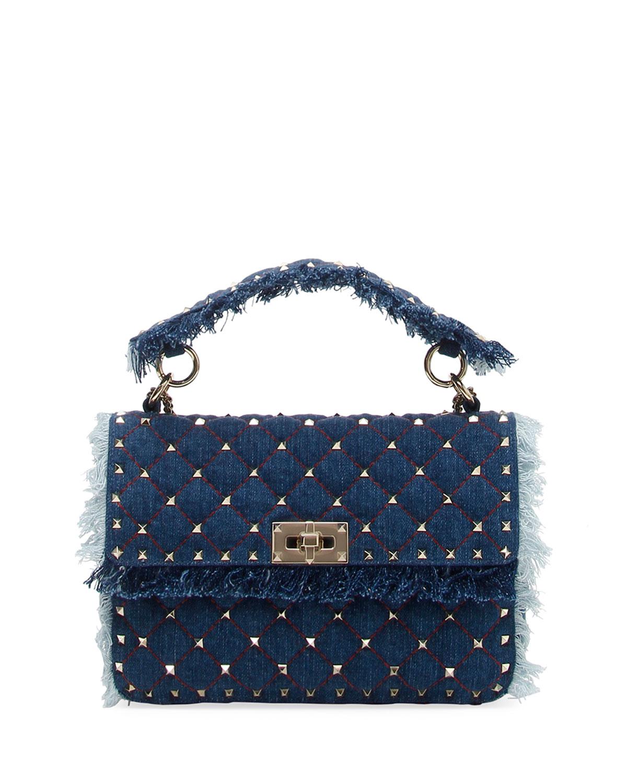 Valentino Garavani Rockstud Spike Medium Fringe Denim Shoulder Bag ... d6d7fb4176950
