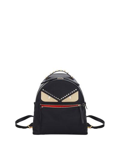 Monster Eyes Nylon & Leather Backpack