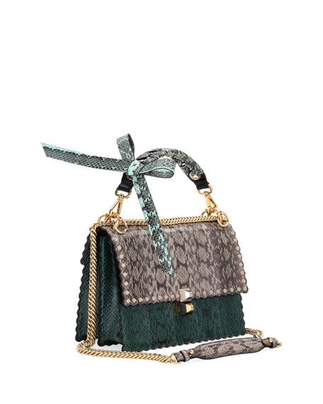 Fendi Kan I Regular Snakeskin and Calf Shoulder Bag