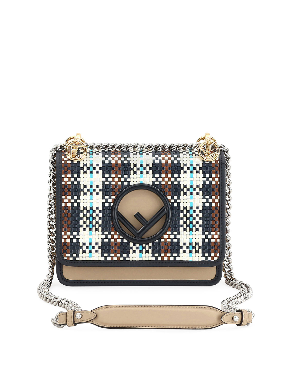 70b9913a F Logo Kan I Small Tartan Calf Shoulder Bag