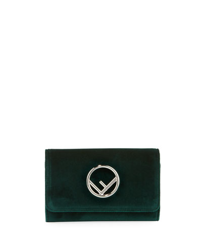 F Logo Velvet Wallet on a Chain