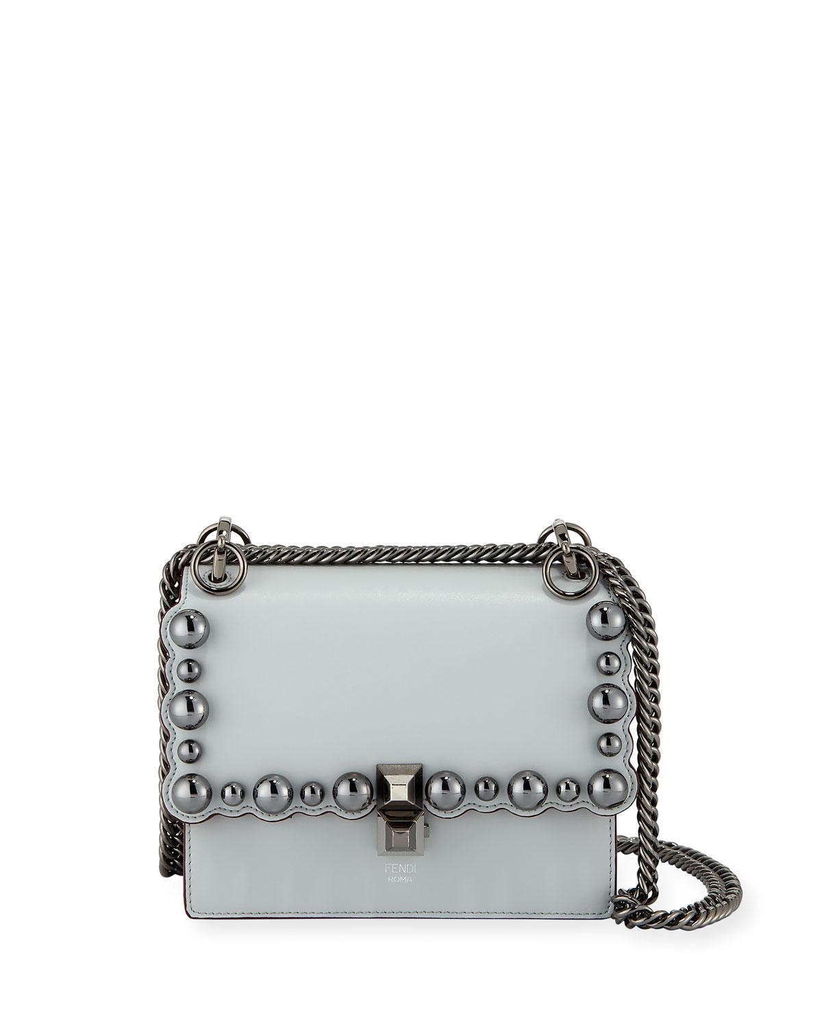75d94580410d FendiKan I Small Pearly-Studded Leather Shoulder Bag