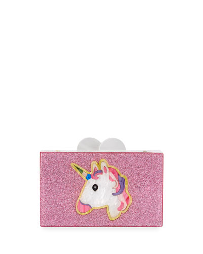 Elizabeth Sutton Unicorn Believe Acrylic Box Clutch Bag