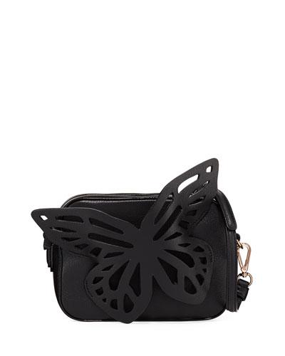 Flossy Butterfly Camera Crossbody Bag, Black