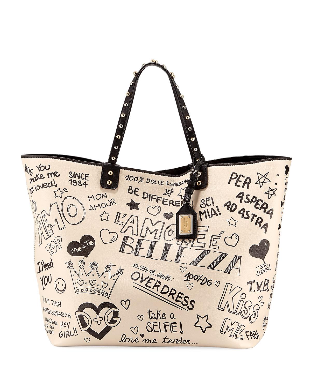 1c198780673c Dolce   Gabbana Graffiti Leather Tote Bag