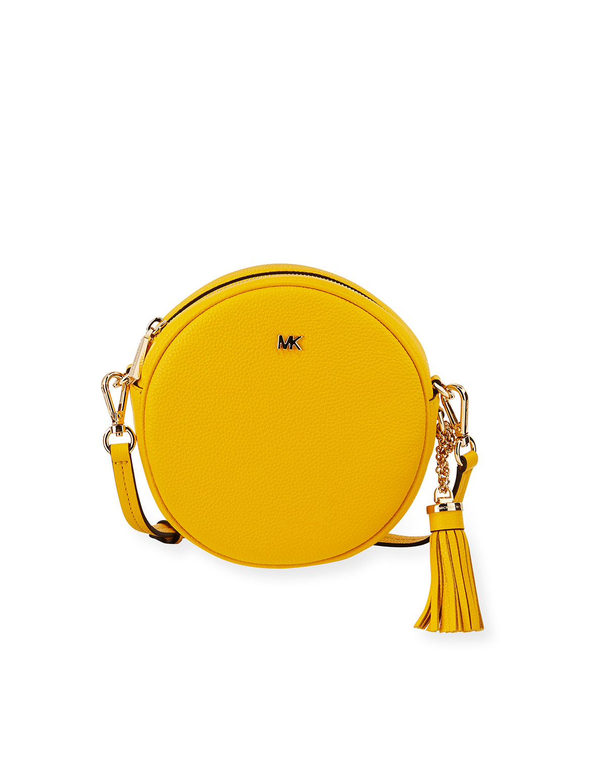 99834350feae MICHAEL Michael Kors Canteen Medium Round Leather Crossbody Bag - Golden  Hardware