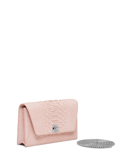 Image 3 of 3: Anouk Sueded Python Mini Clutch Bag, Light Pink